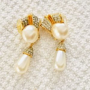 Swarovski Gold-tone Dangle Pearl Earrings